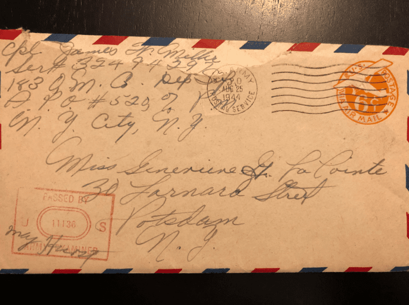 "Photo: envelope of James and Genevieve LaPointe Miller. Middle initial: second use of ""G."""