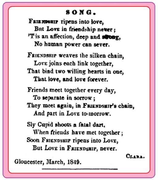 A love poem, Cape Ann Light and Gloucester Telegraph newspaper article 31 March 1849