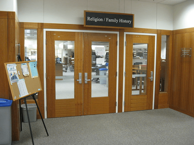 Photo: BYU Family History Library entrance at the Harold B. Lee Library, Brigham Young University in Provo, Utah