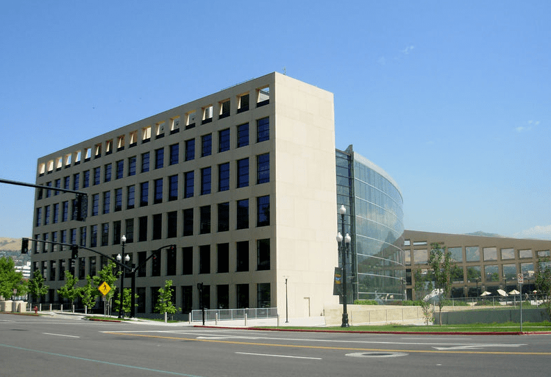 Photo: exterior of the Salt Lake City Public Library's main branch building's west side, as seen from 200 East, Salt Lake City, Utah