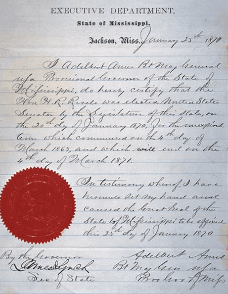 Photo: letter dated 25 January 1870 from the Governor of the State of Mississippi and the Secretary of State of Mississippi that certified the election of Hiram Revels to the United States Senate