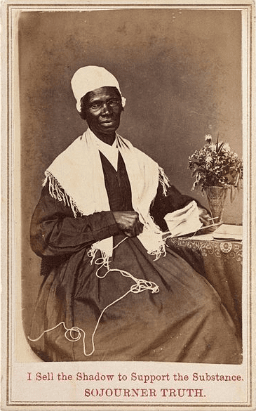 """Photo: Sojourner Truth's """"carte de visite,"""" which she sold to raise money (see inscription), 1864"""