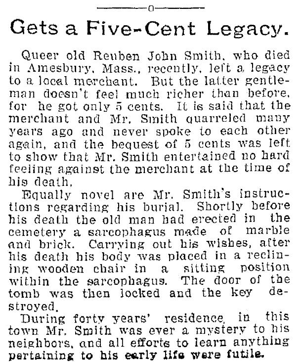 An article about Reuben John Smith's will, Plain Dealer newspaper article 19 March 1899