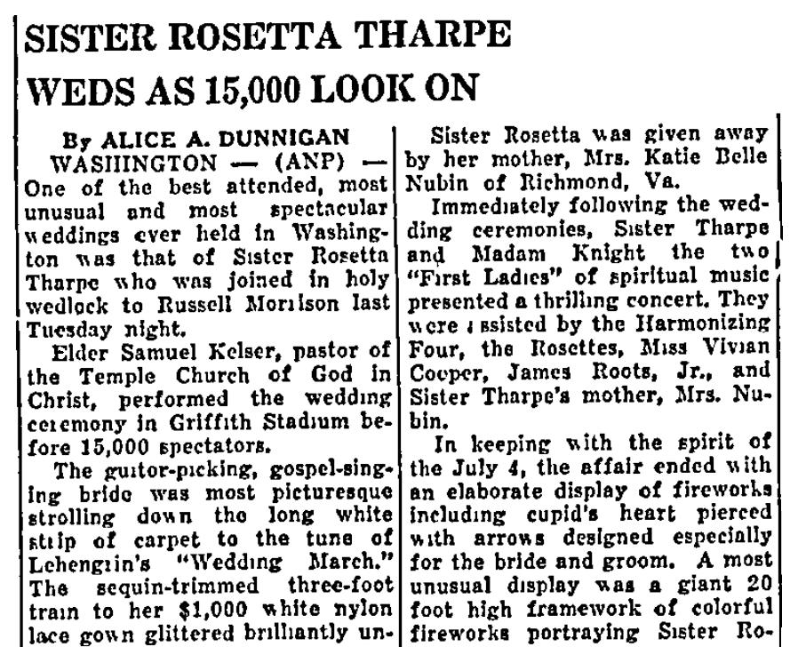 An article about Sister Rosetta Tharpe, Plaindealer newspaper article 13 July 1951