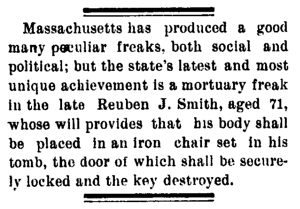 An article about Reuben John Smith, Santa Fe Daily New Mexican newspaper article 31 January 1899
