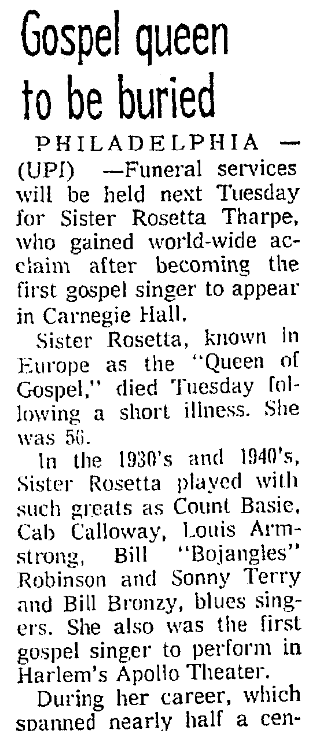 An article about Sister Rosetta Tharpe, Seattle Daily Times newspaper article 11 October 1973