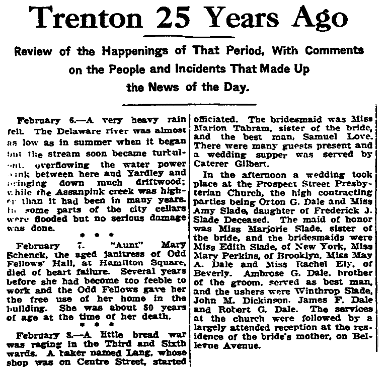 "A ""25 Years Ago"" newspaper column, Trenton Evening Times newspaper article 6 February 1921"