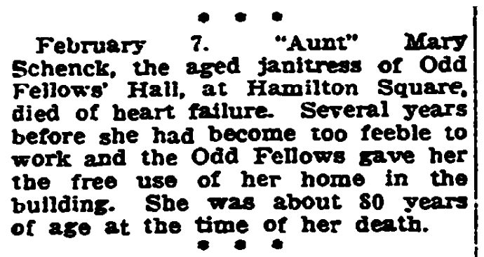 A death notice for Mary Schenck, Trenton Evening Times newspaper article 6 February 1921