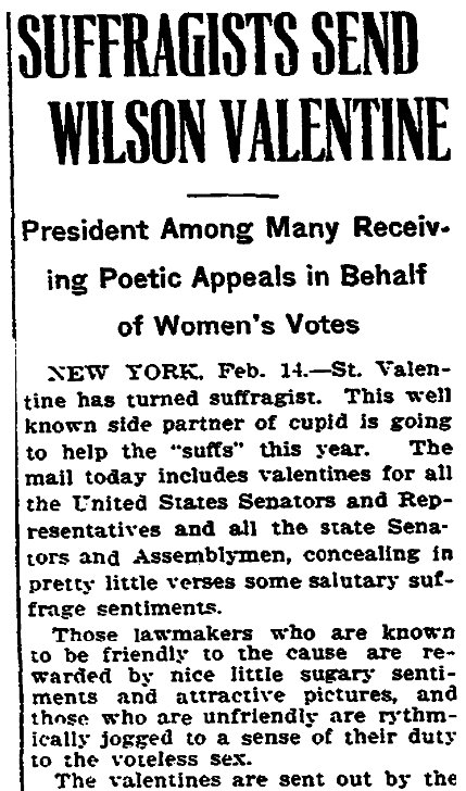 An article about suffragists' valentines, Trenton Evening Times newspaper article 14 February 1916