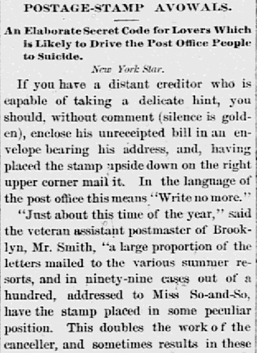 An article about postage stamps, Wheeling Register newspaper article 29 August 1886