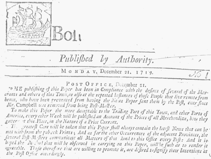 The paper's masthead, Boston Gazette newspaper 21 December 1719