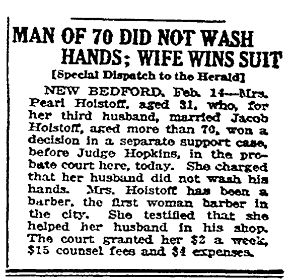 An article about washing hands, Boston Herald newspaper article 15 February 1917