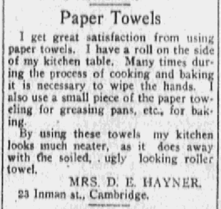 An article about paper towels, Boston Journal newspaper article 12 March 1917