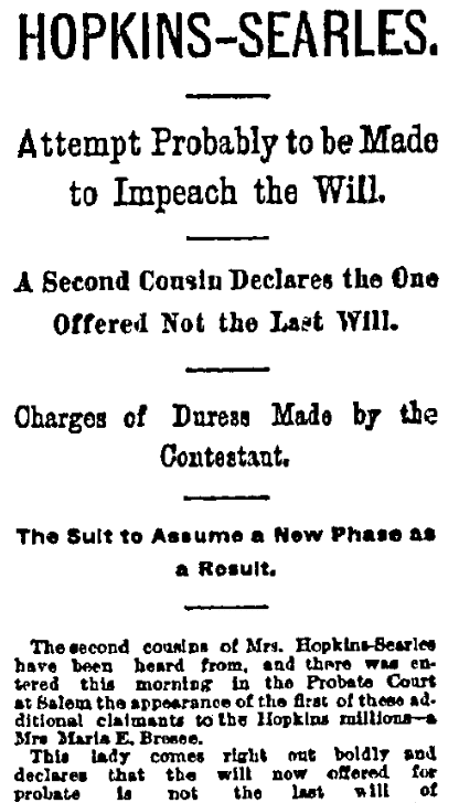 An article about the lawsuit over Mary Hopkins Searles' will, Boston Journal newspaper article 2 October 1891