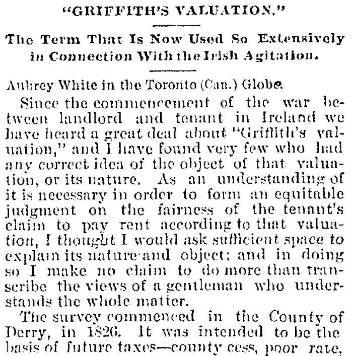 An article about Griffith's Valuation, Cincinnati Daily Gazette newspaper article 25 December 1880