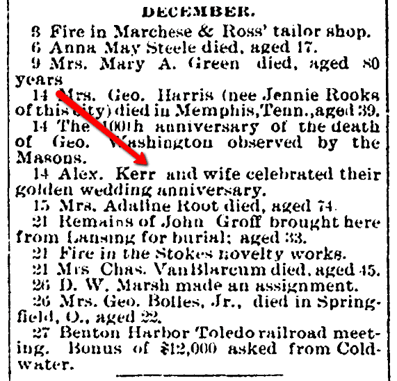 An article about Alexander Kerr and his wife, Coldwater Daily Reporter newspaper article 1 January 1900