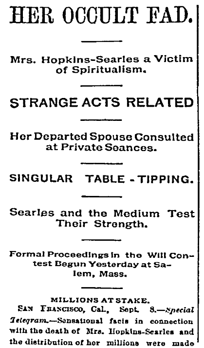 An article about Mary Hopkins Searles, Daily Inter Ocean newspaper article 9 September 1891