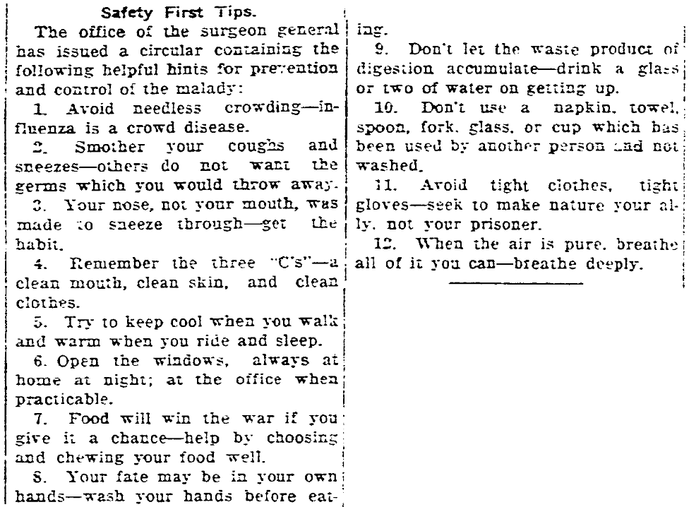 An article about washing hands, Daily Register-Gazette newspaper article 1 October 1918