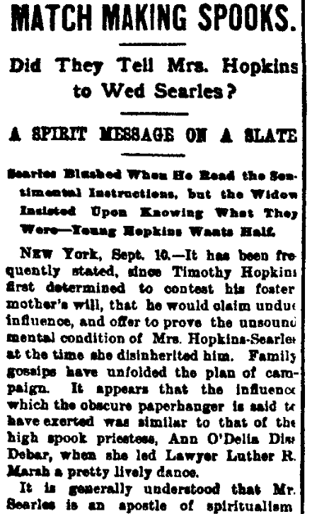 An article about Mary Hopkins Searles, Evening Journal newspaper article 10 September 1891