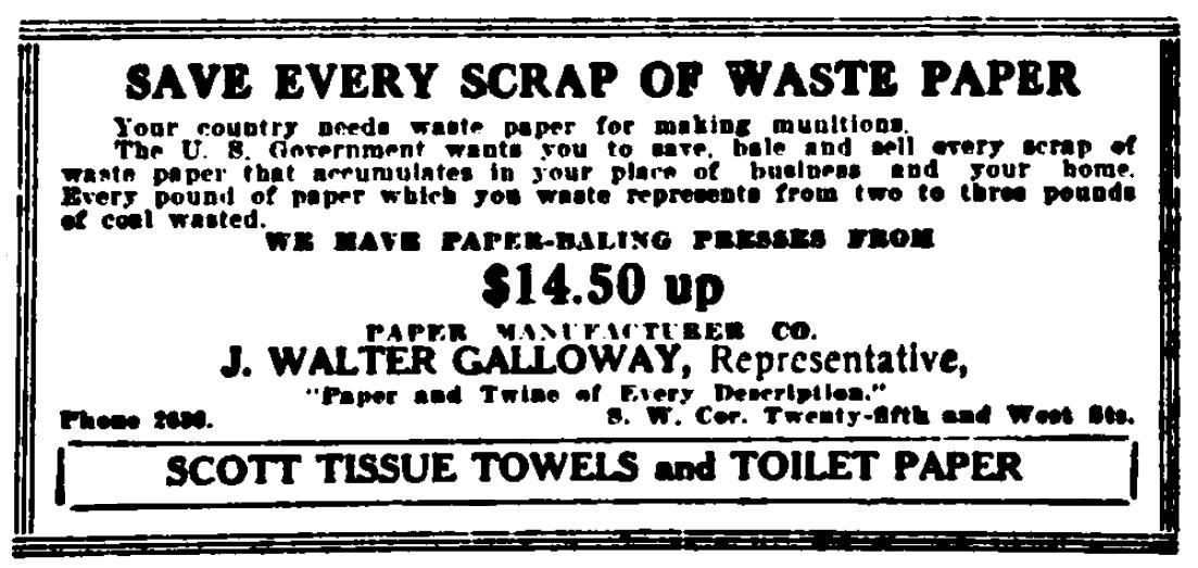 An ad to buy scrap paper, Evening Journal newspaper advertisement 26 September 1918