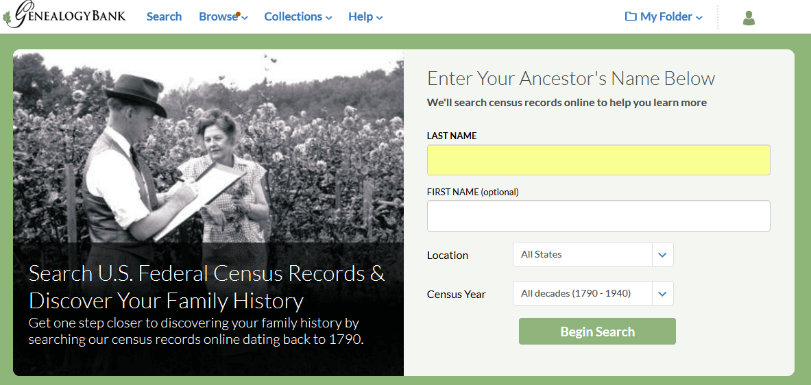 A screenshot of GenealogyBank's search page for the U.S. Census