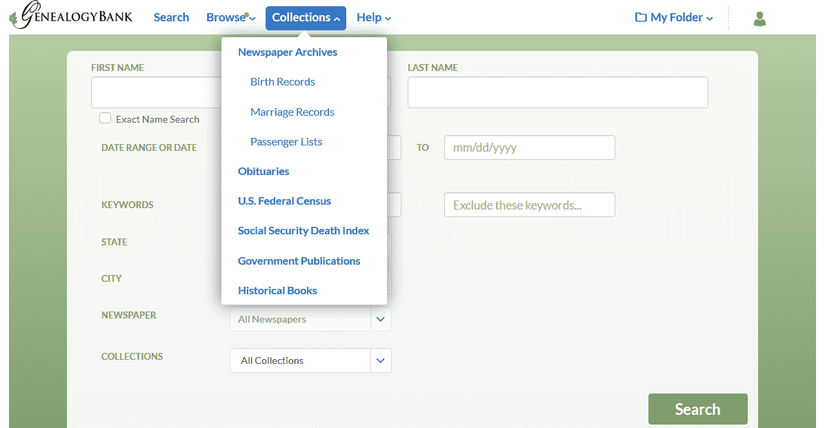 A screenshot of GenealogyBank's home page showing its various collections of genealogical material