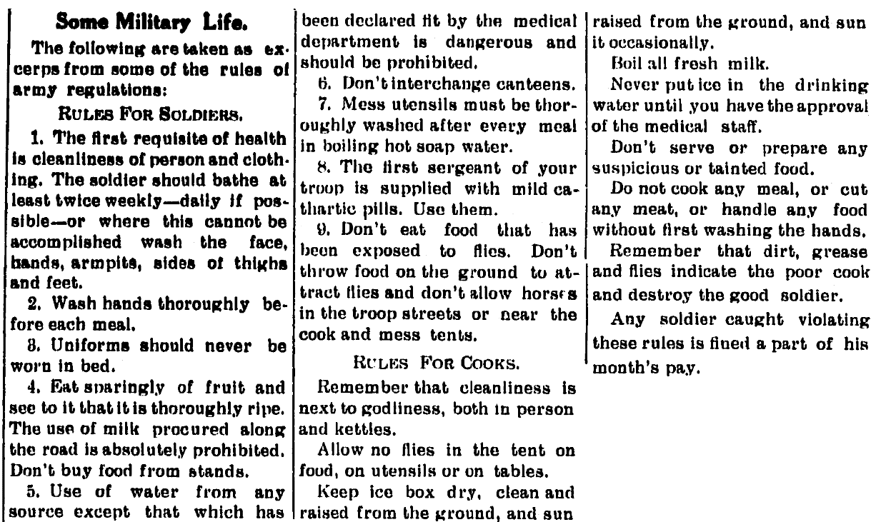 An article about washing hands, Hayti Herald newspaper article 19 April 1917