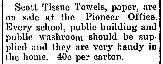 An article about paper towels, Hope Pioneer newspaper article 14 November 1918