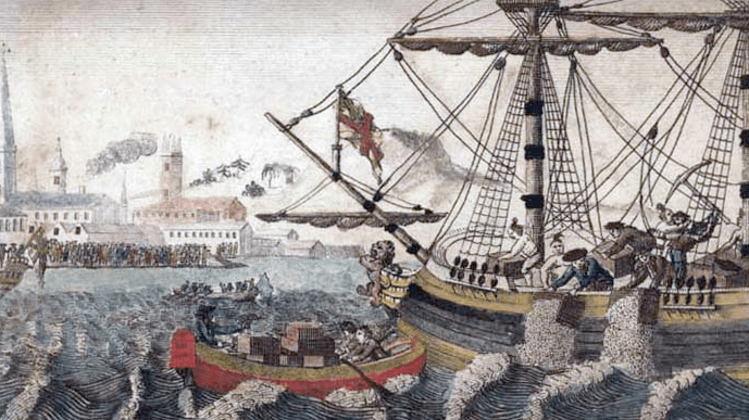 "Illustration: Boston Tea Party. Source: W. D. Cooper. ""The History of North America."" London: E. Newberry, 1789"