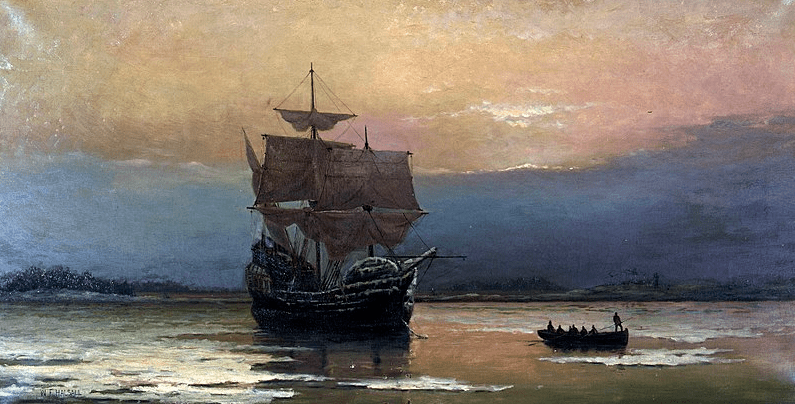 "Painting: ""Mayflower in Plymouth Harbor,"" by William Halsall, 1882"