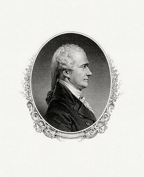 Illustration: a portrait of Alexander Hamilton as Secretary of the Treasury