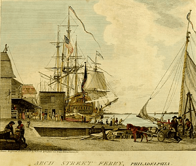 """Illustration: Arch Street wharf, Philadelphia, Pennsylvania, where the first cluster of yellow fever cases was identified in 1793, from an engraving by William Birch in """"The City of Philadelphia,"""" 1800"""