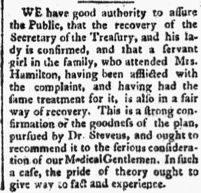 An article about yellow fever, Independent Chronicle newspaper article 23 September 1793