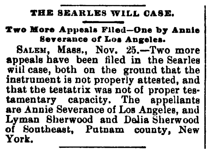 An article about Annie Severance, Los Angeles Daily Herald newspaper article 26 November 1891