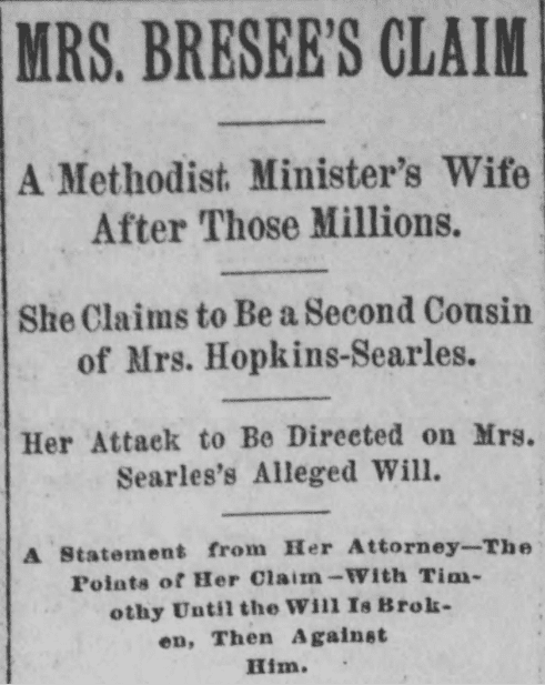 An article about the lawsuit over Mary Hopkins Searles' will, Los Angeles Herald newspaper article 3 October 1891