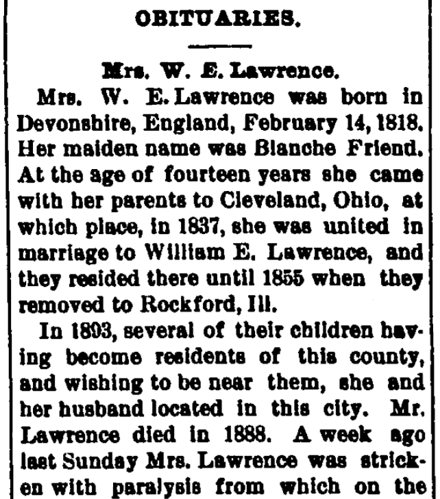 An obituary for Blanche Lawrence, Manchester Democrat newspaper article 3 January 1900