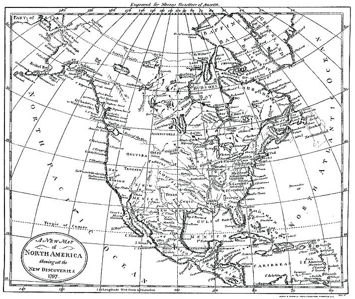 "Map: American geographer Jedidiah Morse's ""A New Map of North America Shewing all the New Discoveries"" from his gazetteer of 1797"