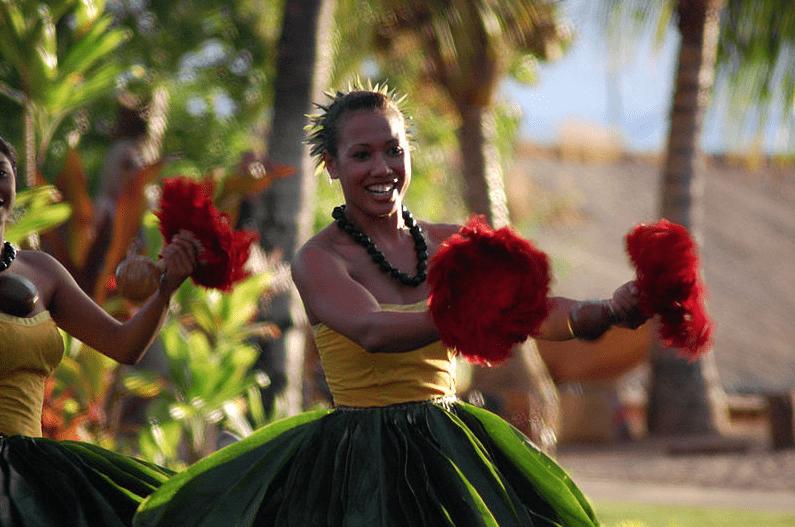 Photo: dancers at the Old Lahaina Luau, Maui, Hawaii