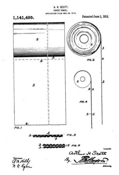 Photo: 1915 patent for the modern paper towel by Arthur Hoyt Scott of Scott Paper Company