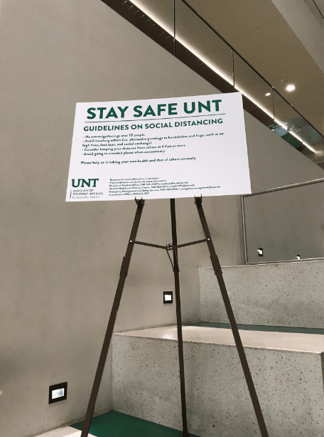 Photo: University of North Texas, social distancing guidelines