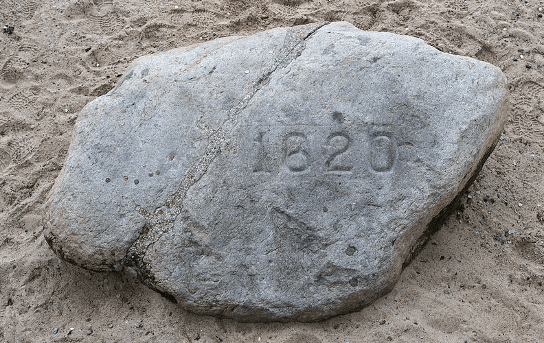 Photo: Plymouth Rock in Plymouth, Massachusetts, the traditional site of disembarkation of William Bradford and the Mayflower Pilgrims who founded Plymouth Colony in 1620