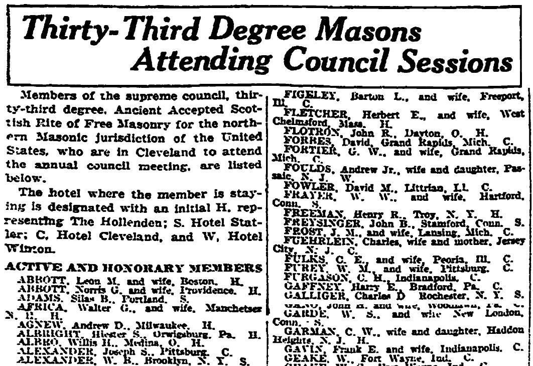 An article about a meeting of Masons, Plain Dealer newspaper article 17 September 1922