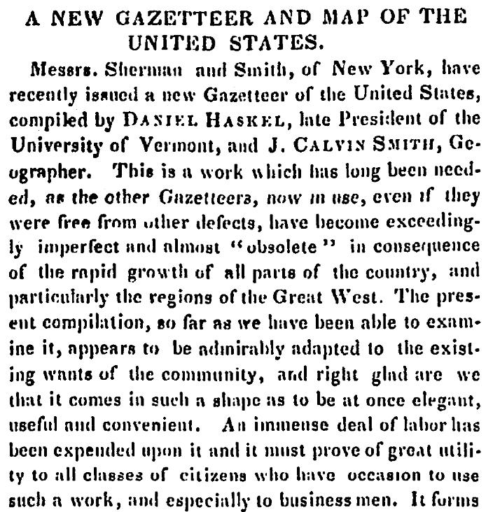 An article about a gazetteer, Salem Register newspaper article 5 October 1843