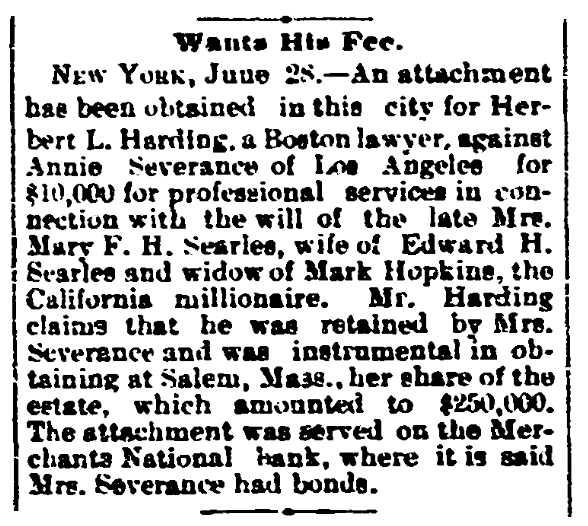 An article about Annie Severance, San Diego Union newspaper article 29 June 1893