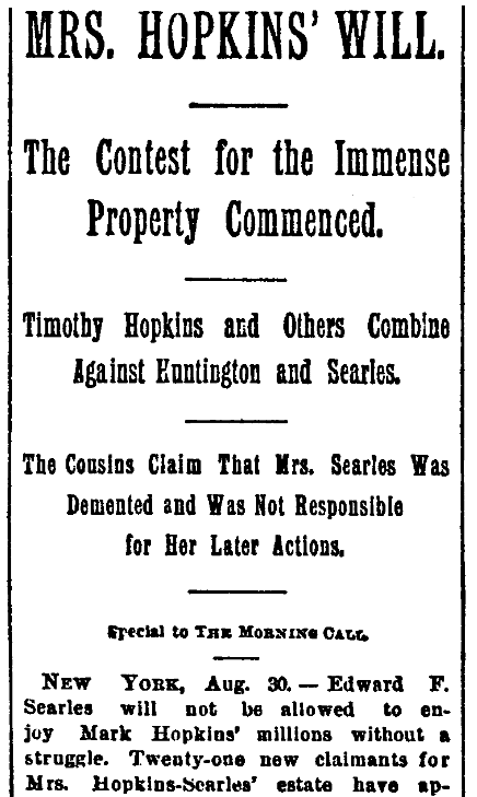An article about Mary Hopkins Searles, San Francisco Call Bulletin newspaper article 31 August 1891