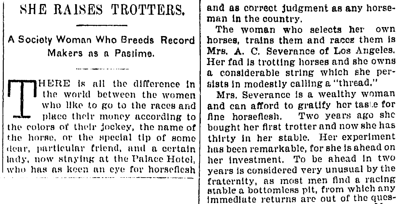 An article about Annie Severance, San Francisco Chronicle newspaper article 11 August 1895