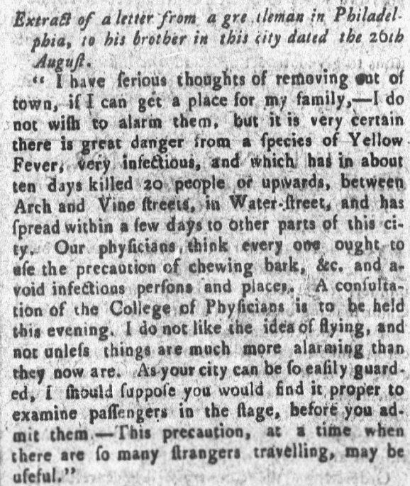 An article about yellow fever, Weekly Museum newspaper article 31 August 1793