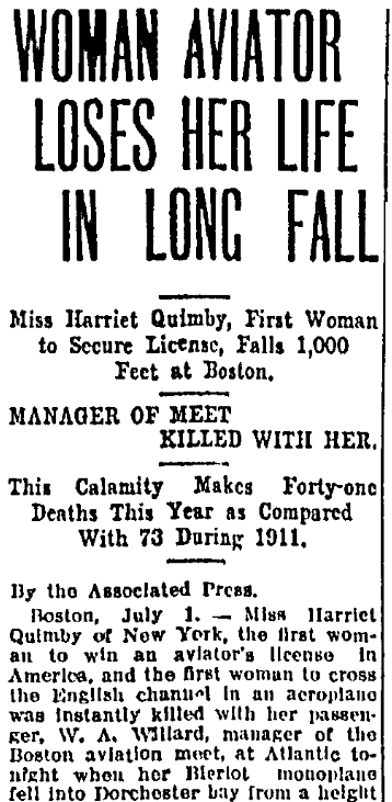 An article about Harriet Quimby, Aberdeen American newspaper article 2 July 1912
