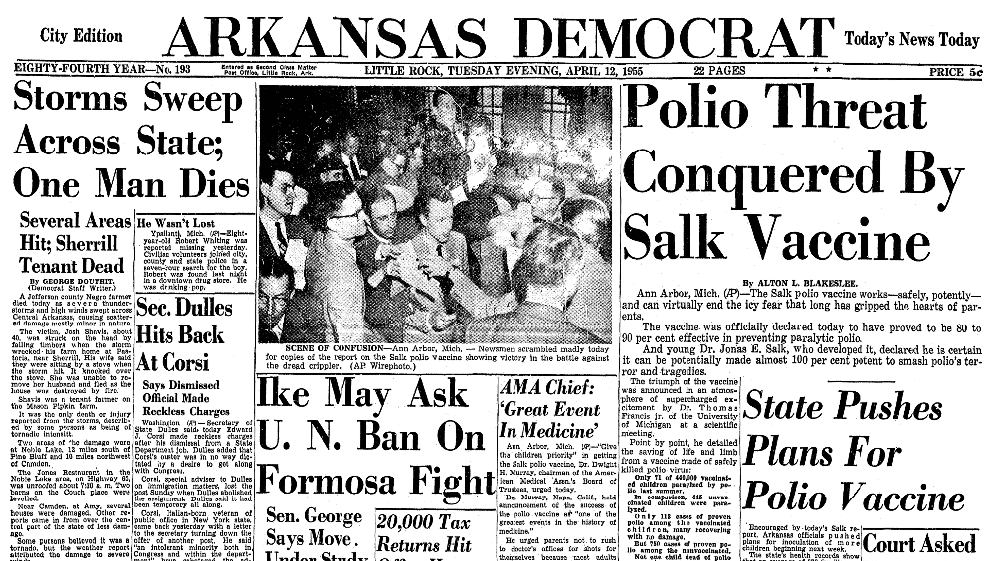 An article about polio, Arkansas Democrat newspaper article 12 April 1955
