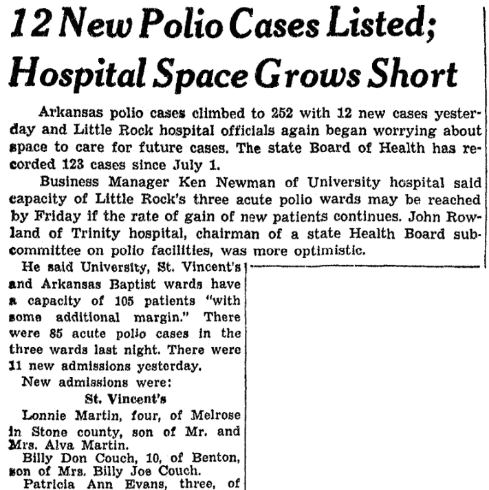An article about the hospital space available for polio victims, Arkansas Gazette newspaper article 13 July 1949